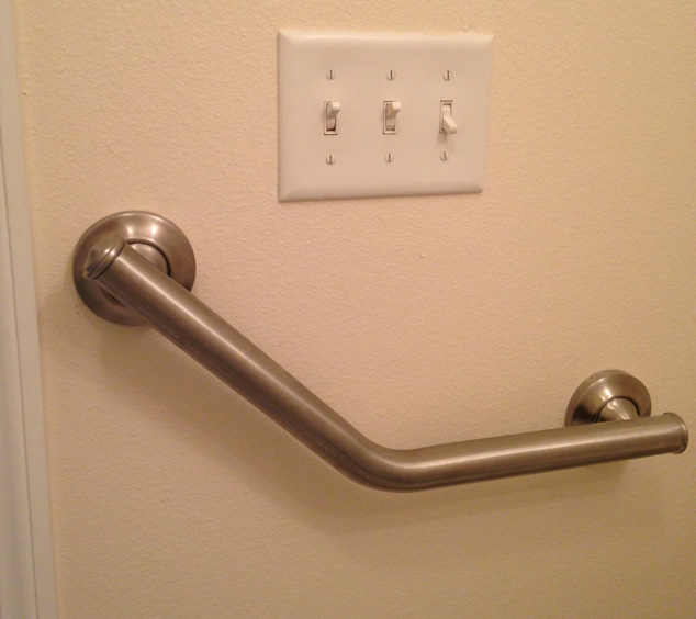 wall mounted brushed nickel grab bar