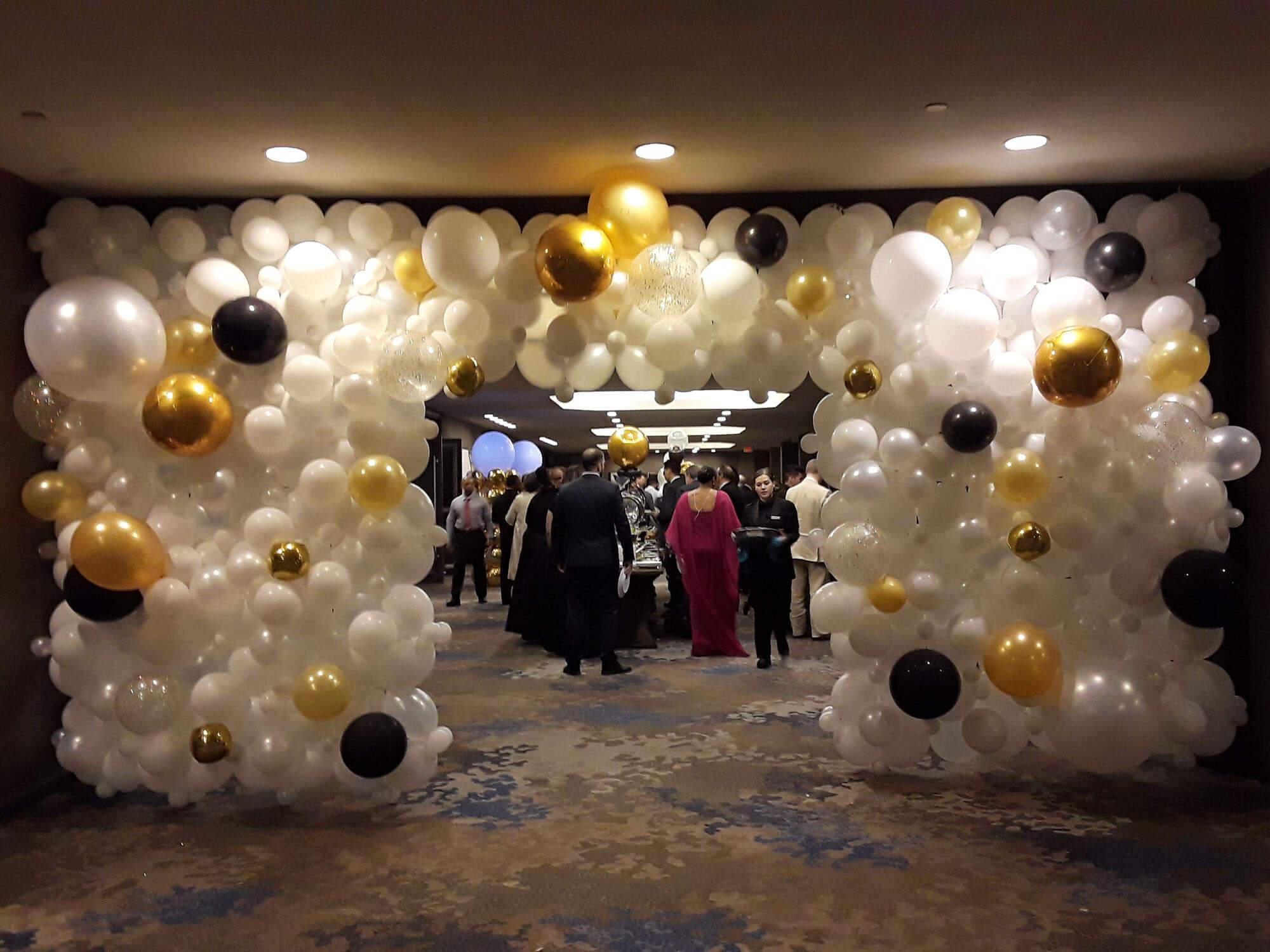 black, gold, white clear, silver balloon design