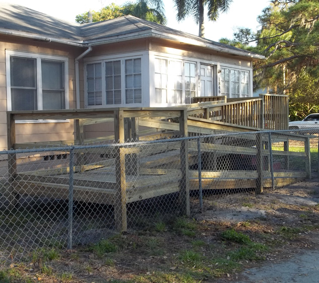side yard pic of mobility ramp