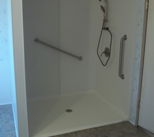 roll in shower with controls and grab bars