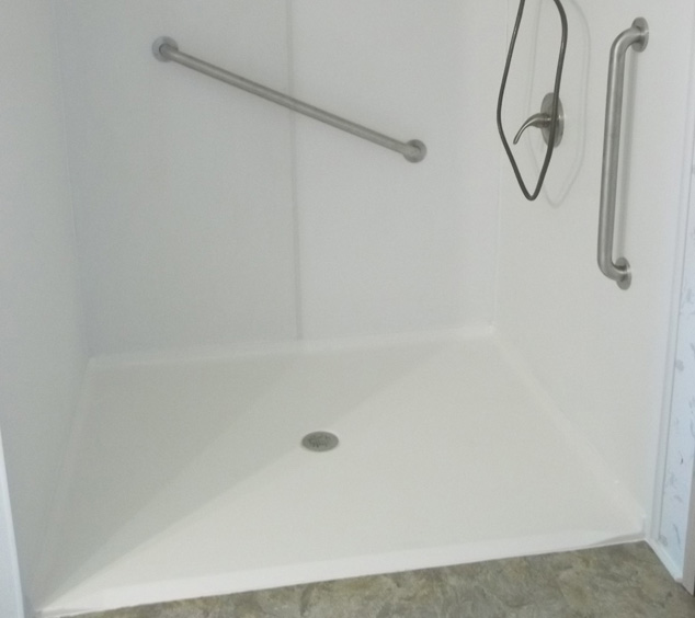 roll in shower with grab bars